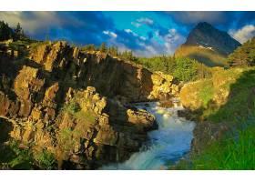 溪流,山,岩石,草,绿色的,风景,自然,山峰,壁纸,