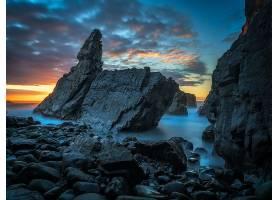 岩石,海岸,自然,日落,壁纸,图片