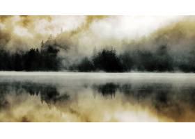 雾,森林,湖,反射,自然,壁纸,图片