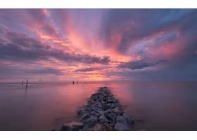 日落,海洋,海,岩石,天空,粉红色,地平线,壁纸,(2)图片