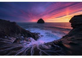 日落,海洋,海,岩石,天空,粉红色,地平线,壁纸,(3)图片