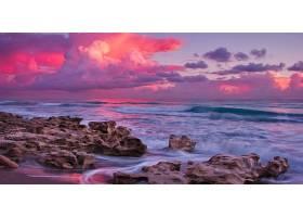 日落,海洋,海,岩石,天空,粉红色,地平线,壁纸,图片
