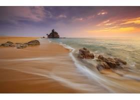 日落,海洋,海,岩石,树,沙,地平线,壁纸,
