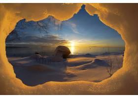 日出,雪,自然,风景,冬天的,地平线,壁纸,图片