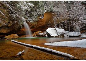 瀑布,瀑布,自然,湖,冬天的,岩石,雪,壁纸,图片
