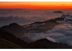 山,山脉,云,风景,雾,地平线,自然,日落,黄昏,黄昏,天线,壁纸,图片