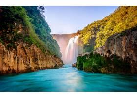 瀑布,瀑布,峡谷,湖,壁纸,