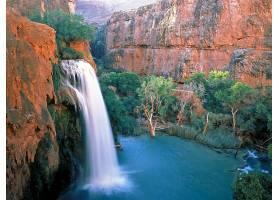瀑布,瀑布,峡谷,自然,水,树,壁纸,