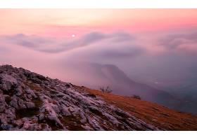 雾,小山,岩石,日落,壁纸,图片
