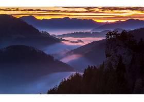 雾,山,自然,山谷,风景,日出,壁纸,图片
