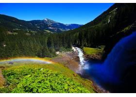 瀑布,瀑布,自然,奥地利,彩虹,植物,森林,山,水,壁纸,图片