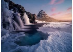 瀑布,瀑布,自然,山,风景,冬天的,冰,壁纸,图片
