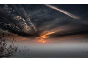 雾,自然,云,天空,日落,湖,壁纸,图片
