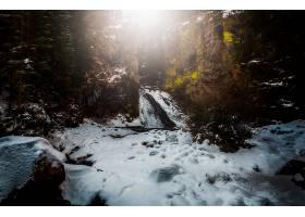 瀑布,瀑布,自然,岩石,冬天的,雪,壁纸,(1)图片