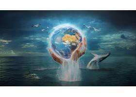 艺术的,幻想,魔法,行星,手,鲸,壁纸,图片