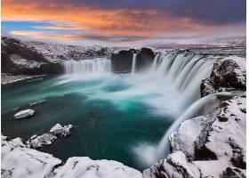 瀑布,瀑布,自然,岩石,冬天的,雪,壁纸,图片