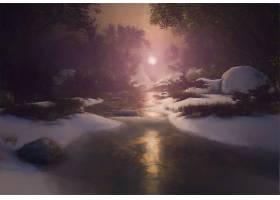 艺术的,溪流,冬天的,风景,绘画,雪,壁纸,图片