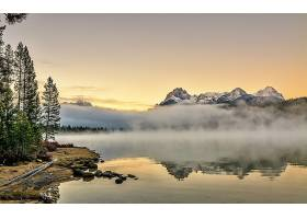雾,自然,反射,山,湖,壁纸,图片