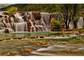 瀑布,瀑布,森林,壁纸,(4)图片
