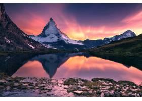 地球,马特洪峰,山脉,山,反射,湖,阿尔卑斯山脉,自然,日落,壁纸,图片