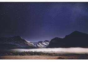 雾,自然,夜晚,明星,天空,山,布满星星的,天空,壁纸,图片