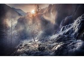 瀑布,瀑布,自然,雾,阳光,冬天的,壁纸,图片