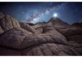 月球,夜晚,乳白色的,方法,山峰,岩石,明星,壁纸,