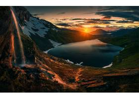 日落,湖,瀑布,自然,地平线,风景,太阳,壁纸,图片