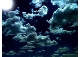 天空,夜晚,云,蓝色,壁纸,图片