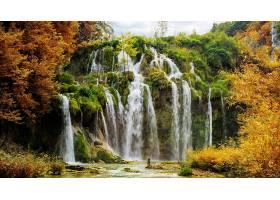 瀑布,瀑布,Plitvice,国家的,公园,秋天,叶子,壁纸,图片