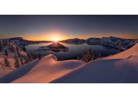 地球,火山口,湖,俄勒冈州,自然,日出,湖,岛,冬天的,风景,雪,壁纸,