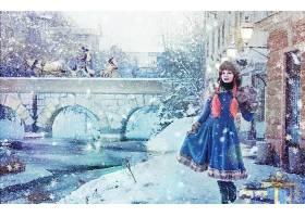 冬天的,女孩,雪,城镇,桥梁,马,过时的,壁纸,