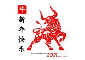 2021红色剪纸牛年新年快乐海报设计