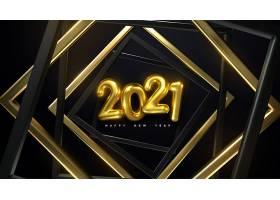 黑底原创2021香槟金色新年主题海报设计