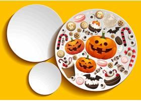 万圣节物品元素主题盘子图案设计