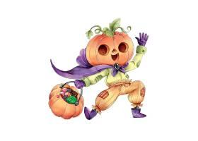 南瓜头紫色披风万圣节提着南瓜的人