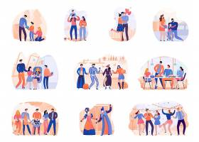 万圣节派对人物矢量插画设计