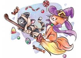 万圣节坐在扫帚上的魔法猫咪插画设计
