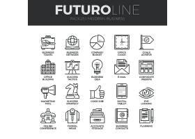 商务主题简洁单色线条矢量按钮UI图标设计