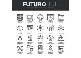 电子信息科技主题简洁单色线条矢量按钮UI图标设计