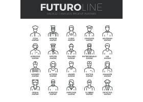 不同职业的人主题简洁单色线条矢量按钮UI图标设计