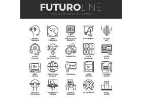 商务办公主题简洁单色线条矢量按钮UI图标设计