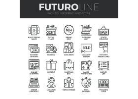 电商购物主题简洁单色线条矢量按钮UI图标设计