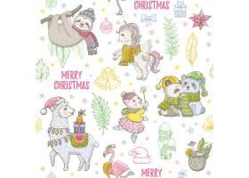 圣诞快乐圣诞可爱森林野兽彩绘插图