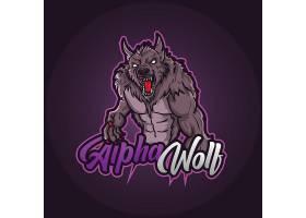 狼主题游戏徽章图标LOGO设计
