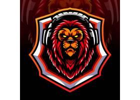 戴耳机的狮子主题游戏徽章图标LOGO设计