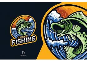 鱼跃龙门主题游戏徽章图标LOGO设计
