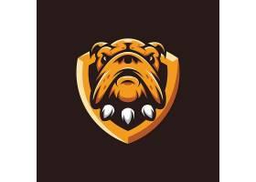 狗与盾牌主题游戏徽章图标LOGO设计