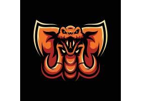 蛇象合体主题游戏徽章图标LOGO设计