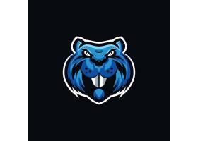 蓝色老鼠主题游戏徽章图标LOGO设计